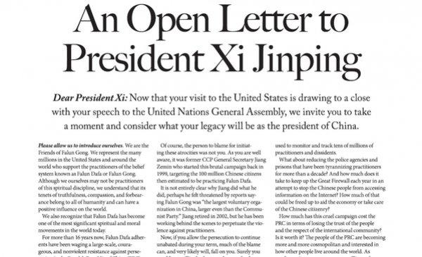 """""""Thư ngỏ gửi Chủ tịch Tập Cận Bình"""" được công bố trên Thời báo New York"""