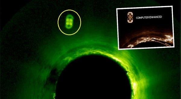Ảnh vệ tinh cho thấy UFO lớn bằng sao Thổ hút năng lượng Mặt Trời