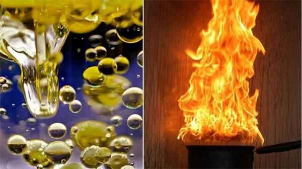 Tuyệt đối không đổ nước vào dầu sôi, nếu có cháy phải làm cách này