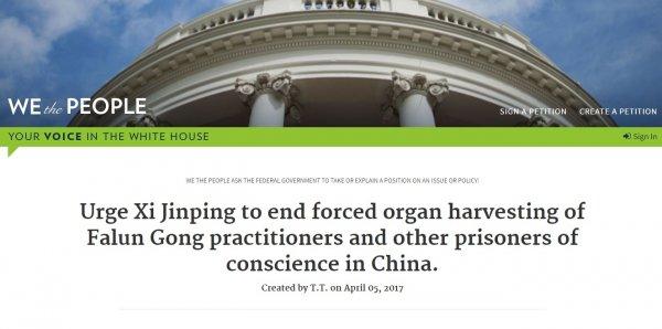 Hàng nghìn người thỉnh nguyện lên Nhà Trắng kêu gọi ông Trump hỗ trợ chấm dứt tội ác tại Trung Quốc