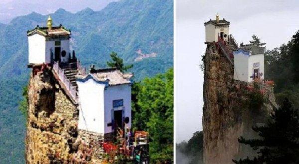 Tuyệt cảnh miếu Kim Đỉnh, chông chênh trên chóp đá 400 năm không đổ