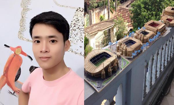 Chàng trai 9x gây xôn xao cộng đồng mạng với mô hình sân bóng bằng tăm tre