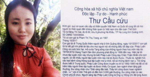 Thư cầu cứu của một người mẹ có con mất tích tại Trung Quốc