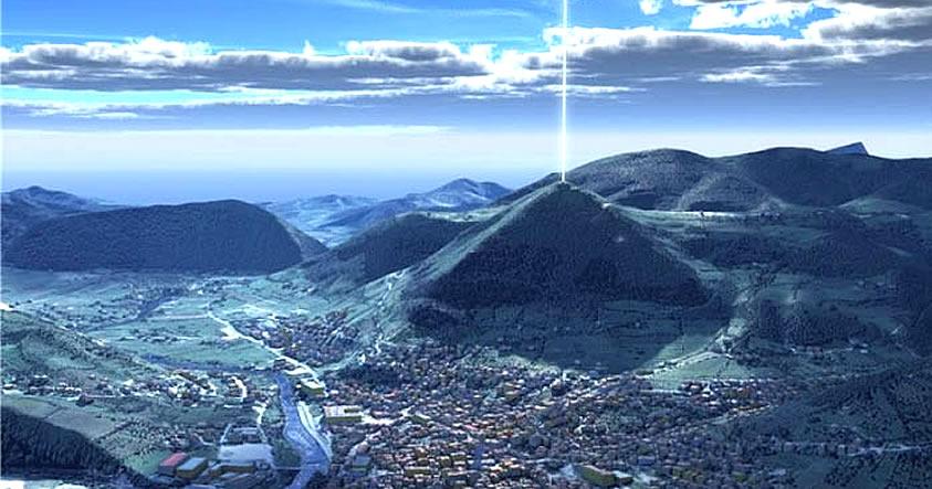 Hình ảnh mô phỏng điều các nhân chứng đã nhìn thấy tại kim tự tháp Bosnia. (Ảnh qua codigooculto.com)