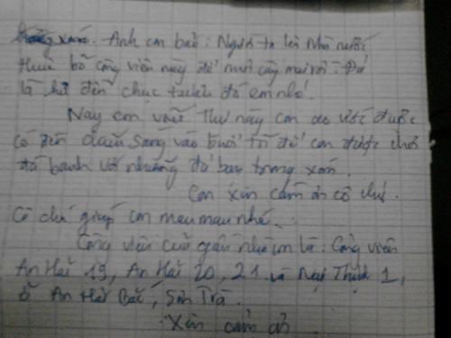 Bức thư của Quân được thành phố Đà Nẵng giải quyết.