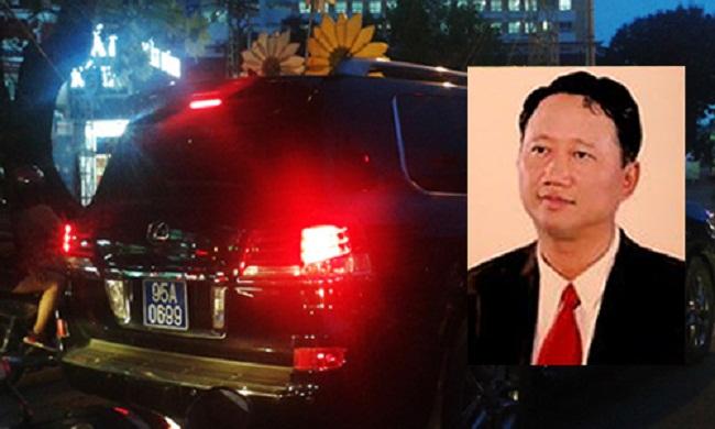 Ông Trịnh Xuân Thanh và chiếc xe Lexus biển xanh.