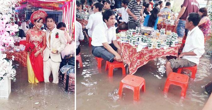 Đám cưới chạy lũ ở Khánh Hòa: Nước ngập nào ngăn hạnh phúc lứa đôi.1