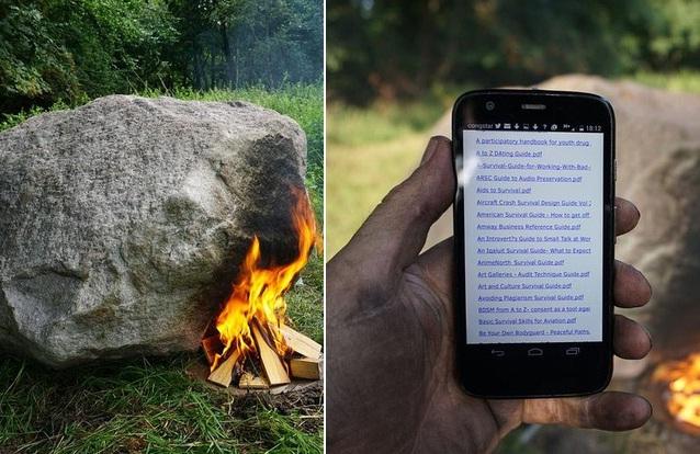 """Hòn đá """"lạ"""" có khả năng phát Wi-fi khi đốt lửa."""