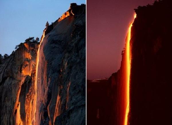 Thác nước đỏ rực như lửa trong vườn quốc gia Yosemite ở bang California, Mỹ.