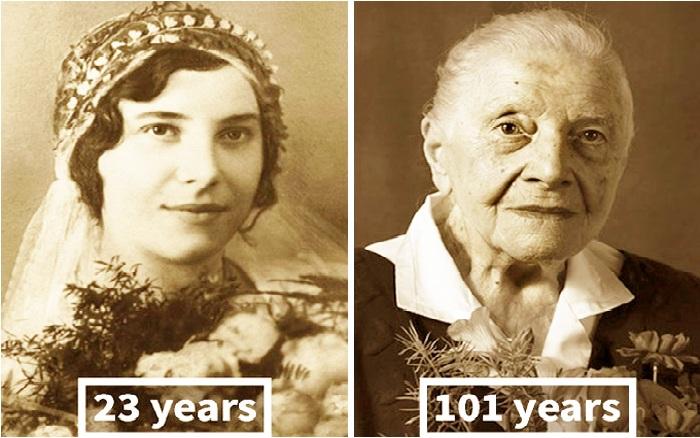 Cụ bà Marie Burešová trong đám cưới năm 23 tuổi (trái) và hiện nay khi đã bước sang tuổi 101.