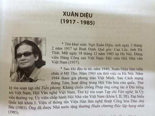 Ảnh Đỗ Lai Thúy đưa vào trang viết về Xuân Diệu.