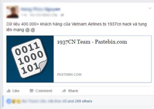 Dữ liệu khách hàng của Vietnam Airlines bị tung lên mạng chiều nay.