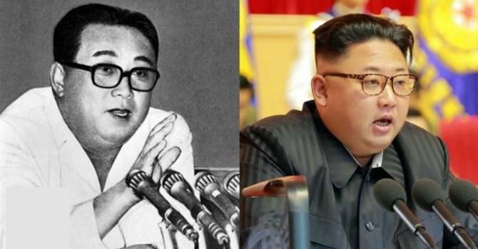 Cố lãnh đạo Triều Tiên Kim Nhật Thành (trái) và ông Kim Jong-un.