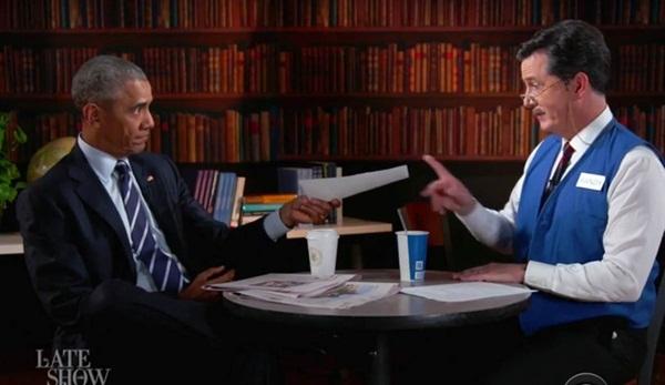 Ông Obama đang tập dượt phỏng vấn cùng với Mc Stephen Colbert.