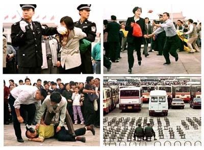 Hình ảnh bức hại các học viên Pháp Luân Công tại Trung Quốc vào 7/1999