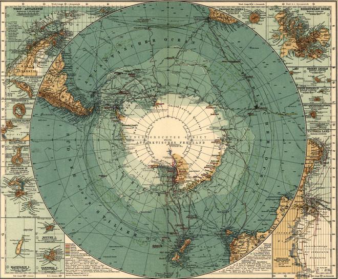 Bản đồ vẽ lục địa Terra Australis .