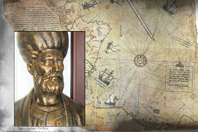 Một bức tượng bán thân đô đốc, nhà bản đồ học người Thổ Nhĩ Kỳ, ông Piri Reis, và tấm bản đồ được vẽ năm 1513 của ông. (Wikimedia Commons)