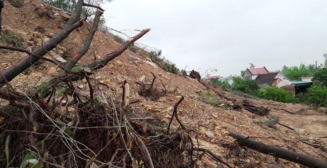 Hiện trường núi Rú Rậm bị sát lở ảnh hưởng đến các hộ dân dưới chân núi. (Ảnh: Phạm Hòa)