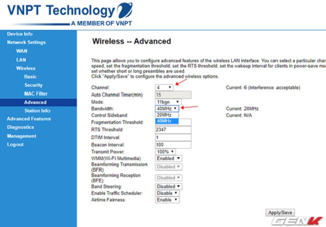 """Lần lượt điều chỉnh 2 thiết lập này. Ở đây ta nên chọn """"Channel"""" sau cho khác với những kết nối Wi-Fi khác xung quanh, và """"Bandwidth"""" sẽ là 40MHz hoặc 60MHz (nếu router của bạn hỗ trợ)."""