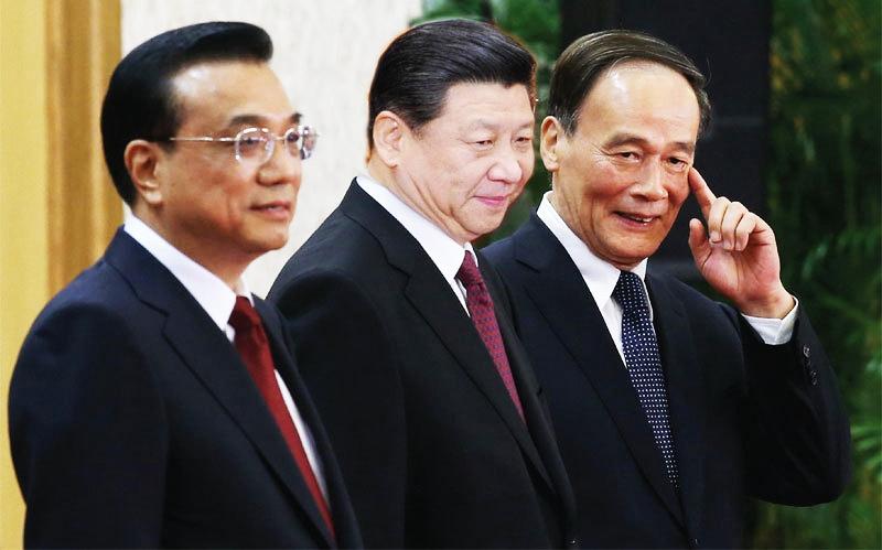 Bộ ba chống tham nhũng tại Trung Quốc: Lý Khắc Cường, Tập Cận Bình, Vương Kỳ Sơn. (Ảnh: )