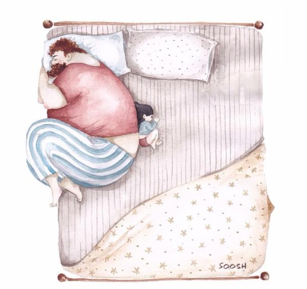 Ngủ cạnh cha, con không sợ gì, không lo lắng gì nữa. (Ảnh: Internet)