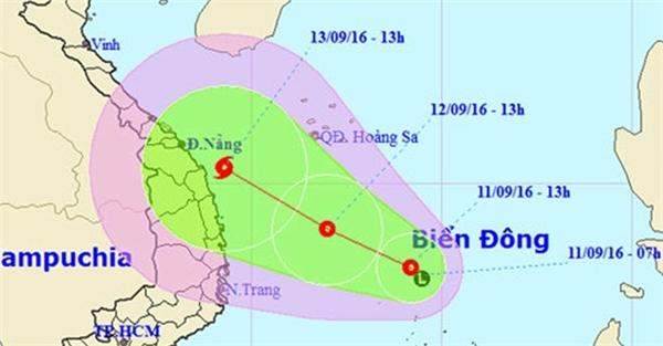 Sơ đồ hướng đi của bão số 4. (Ảnh:internet)