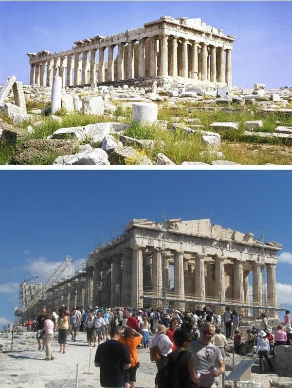 Thành phố cổ Athens phải trùng tu vì bị xuống cấp theo thời gian. (Ảnh: 9GAG).
