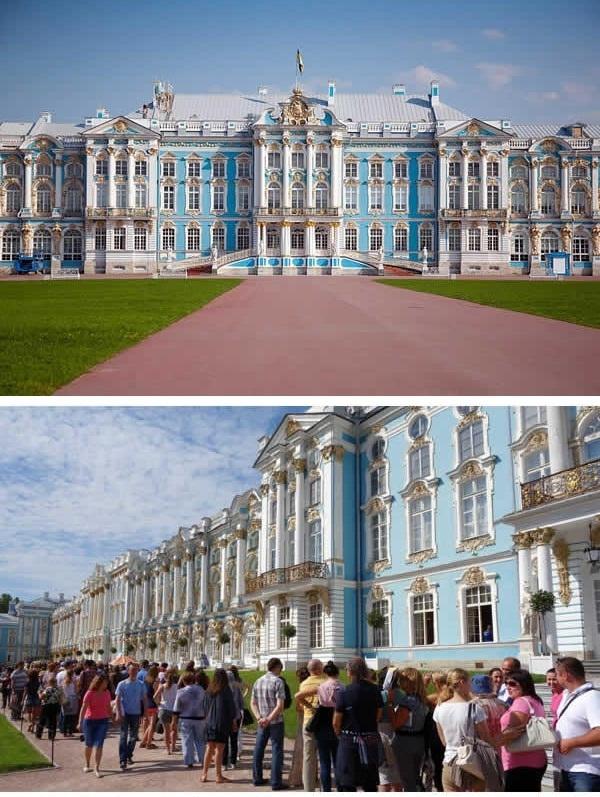 """Dòng người """"khủng khiếp"""" trước lâu đài Catherine ở Nga. (Ảnh: 9GAG)."""