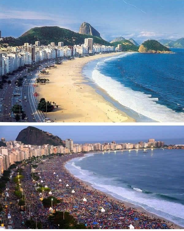 Nhìn hình ảnh này của bãi biển Copacabana ở Brazil, bạn còn tin vào ảnh trên mạng nữa không? (Ảnh: 9GAG).