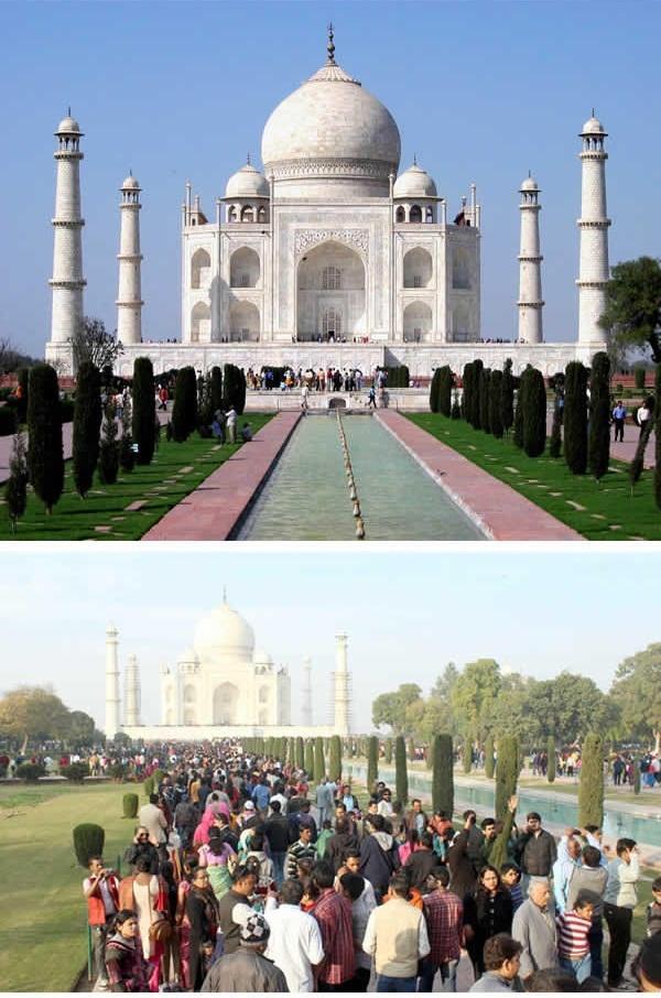 Đền Taj Mahal ở Ấn Độ cũng chịu chung số phận. (Ảnh: 9GAG).