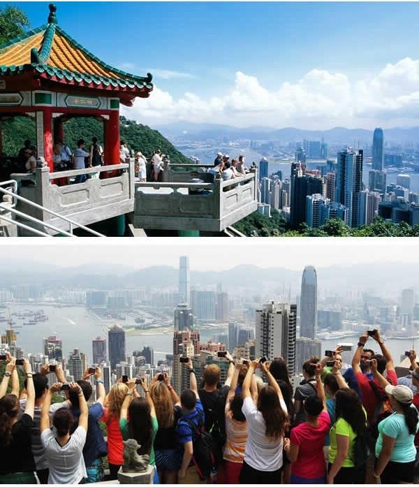 """Cùng lên Núi Thái Bình ở Hong Kong và 1, 2, 3... """"cho tôi thấy đôi tay của các bạn trên không trung nào"""". (Ảnh: 9GAG)."""