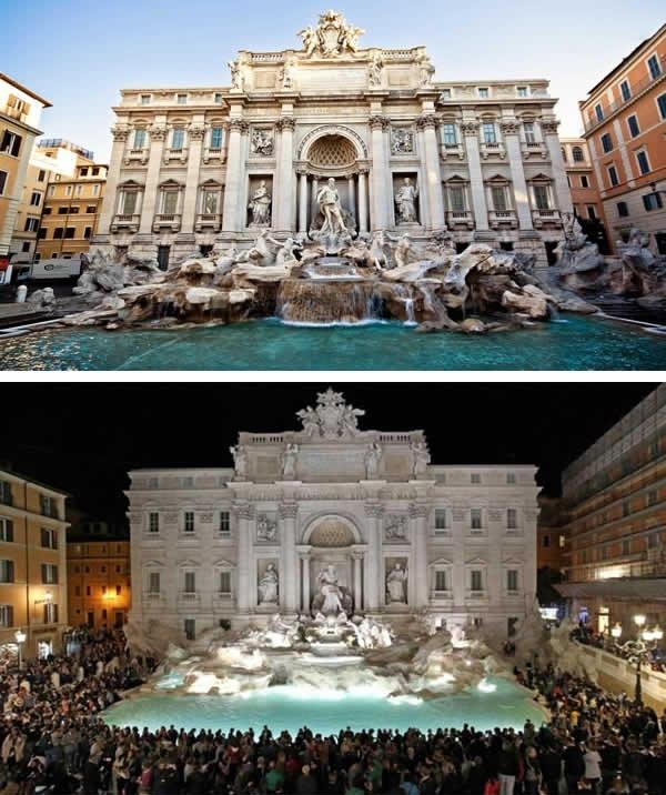 Thác nước Trevi ở Ý... (Ảnh: 9GAG).