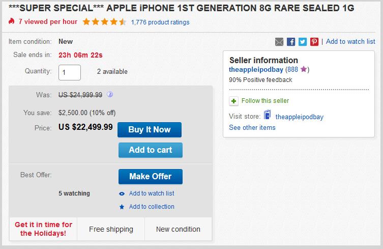 Hiện tại, giá bán cao nhất của một chiếc iPhone 2G là 22.500 USD (tương đương 495 triệu VNĐ). (Ảnh: Internet)