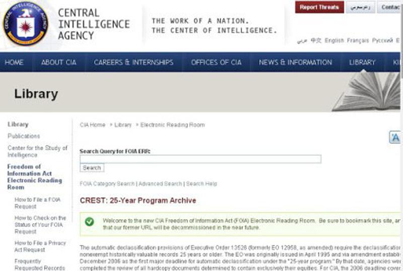 Cục Tình báo Trung ương Mỹ (CIA) đã cho công khai 930.000 tài liệu mật với tổng số 12 triệu trang.