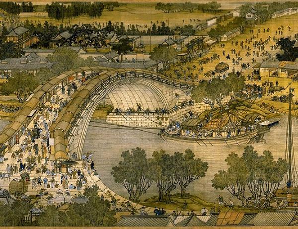 """Khung cảnh cây cầu nổi tiếng trong bức """"Thanh minh thượng hà đồ"""". (Ảnh: Wikimedia Commons)."""