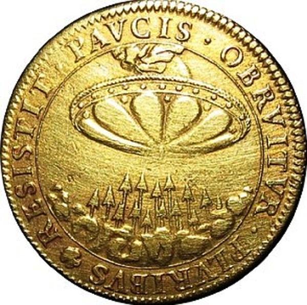 """đúc vào năm 1648 cũng có hình ảnh """"đĩa bay"""" tương tự."""