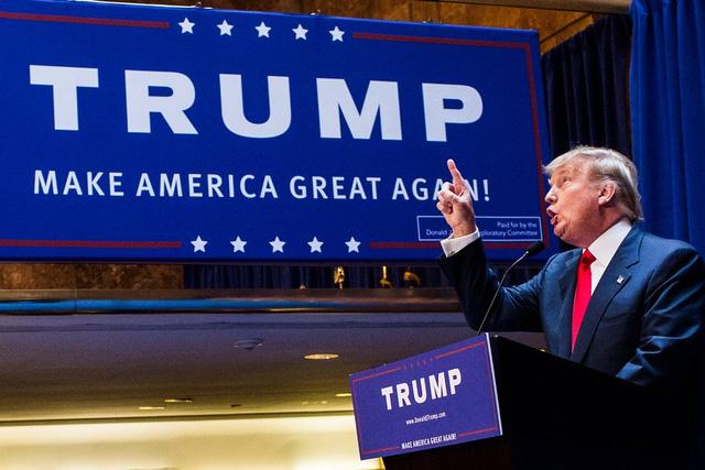 Năm 2015: Trump tuyên bố tham gia vào cuộc đua Nhà Trắng tại Trump Tower. (Ảnh: Christopher Gregory/Getty Images)