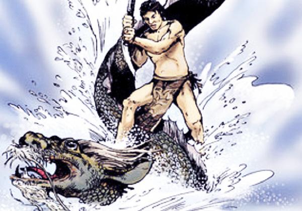 Một bức tranh minh họa cảnh Lạc Long Quân diệt Ngư Tinh. (Ảnh: Internet)