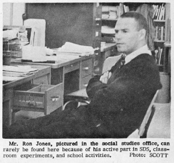 """Thầy Ron Jones trong một bài viết trên tập san """"The Catamount"""" của trường Cubberley (Vol 12, No.6, 1967)."""