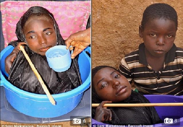 Cô gái sống trong chiếc chậu nhựa nổi tiếng khắp Nigeria.