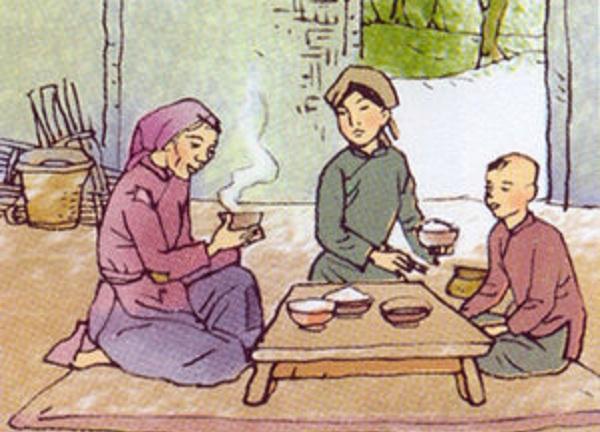 Hai mẹ con góa phụ tốt bụng là người duy nhất giúp đỡ bà lão ăn mày. (Ảnh: Internet)