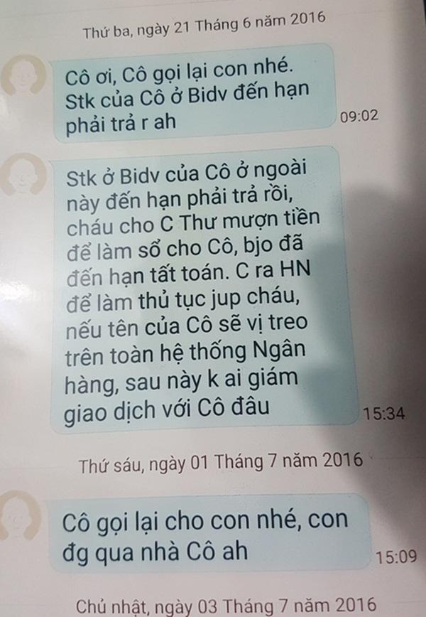 Nội dung tin nhắn mà bà Phương Anh cho rằng người của ngân hàng (tên Chung) nhắn sau khi tiền trong sổ tiết kiệm bị rút.