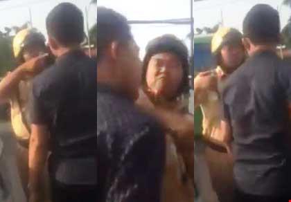 Hình ảnh CSGT thuộc Đội CSGT Rạch Chiếc đánh người đang gây xôn xao trên mạng.