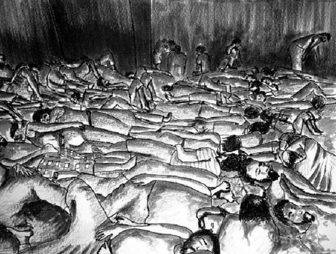 Hàng chục tù nhân phải sống chung trong một căn phòng chật chội và phải thay nhau ngủ. (Minh họa: HRW)