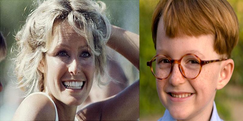 """Cậu bé thông minh đã không bỏ lỡ cơ hội khi nữ diễn viên chính Farrah Fawcett (trái) trong bộ phim nổi tiếng """"Những thiên thần của Charlie"""" đến. (Ảnh cậu bé minh hoạ)"""