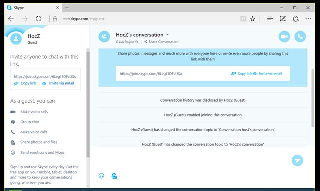 Kèm theo đó, Skype cũng cung cấp cho một URL để bạn có thể sao chép và gửi chúng cho người dùng khác mà bạn muốn trò chuyện truy cập vào và bắt đầu trò chuyện. (Ảnh: Genk)