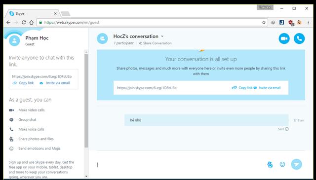 Thế là xong, giờ cả 2 hay nhiều người điều có thể trò chuyện hoặc chat video với nhau một cách thoải mái mà không cần quan tâm đến vấn đề đăng ký hay đăng nhập tài khoản nữa. (Ảnh: Genk)