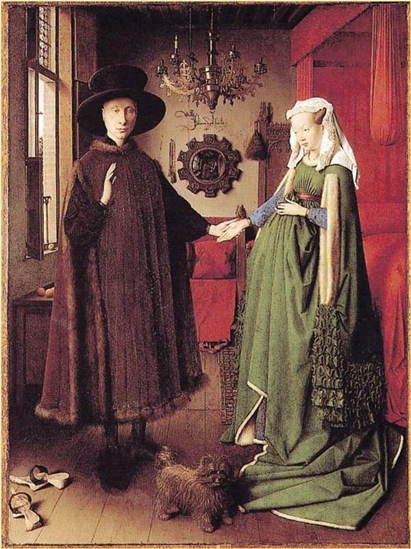 """""""Hôn lễ của Arnolfini"""". Tác giả: Jan Van Eyck (1390?-1441). Năm 1434, Phòng tranh Quốc gia London."""