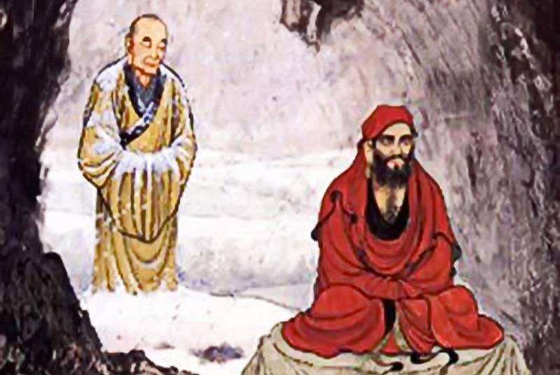 Huệ Khả cầu đạo, đứng ngoài tuyết lạnh chờ Đạt Ma truyền thụ Pháp. (Ảnh: smartemple)
