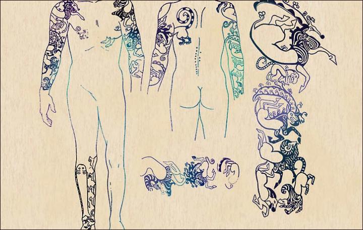 Những hình xăm trên cơ thể công chúa rất giống với hiện đại.